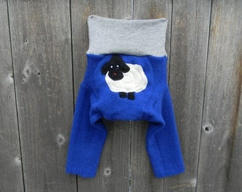 Upcycled Cashmere Longies Soaker Cover Diaper Cover With Added DoublerRoyal Blue/ Gray With Baa Baa Sheep Applique SMALL 3-6 Months