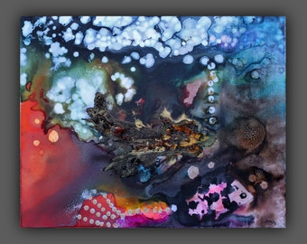 Abstract Fish Painting Texture Watercolor Canvas Wall Art 24 X 30 Ocean Painting