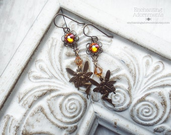 FIRE FAERIES ~ Summer Solstice Aged Brass Fairies Art Nouveau Fantasy earrings with Summer Blush Swarovski crystals // fairy, midsummer