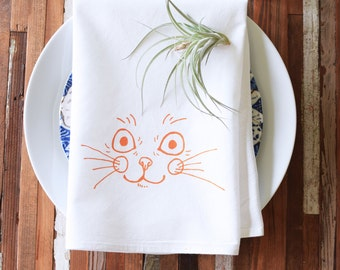 Cloth Napkins - Screen Printed Cotton Cloth Napkins - Dinner Napkins - Kitten - Cotton Napkins - Cocktail Napkins - Everyday Cloth Napkins