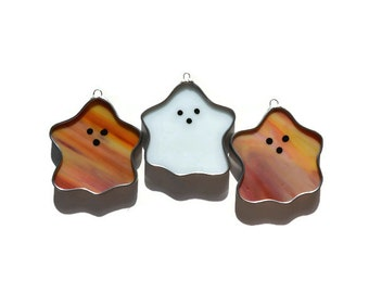 Stained Glass Ghosts - Set of 3 Suncatchers in Orange & White