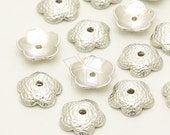 CP-055-MS / 4 Pcs - NEW Flower Bead Cap, Round Bead Cap, Bowl Bead Cap, Matte Silver Plated over Pewter / 10mm