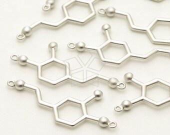 PD-1245-MS / 2 Pcs - Dopamine Molecule Pendant, Chemistry Bracelet, Matte Silver Plated over Brass / 26mm x 11mm