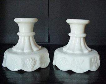 Pair of White Milk Glass Candle Holders Grape Motif Home and Garden Decor Candle Holders