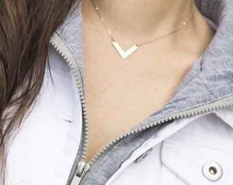 Chevron Gold Necklace, Layering Necklace, Chevron Charm, V Shaped Necklace, Triangle V Necklace, Dainty Layering Necklace in Gold, Silver