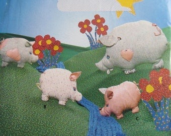 Vintage Butterick Craft Pattern Pig 4688 Mother and Young Piglets Sewing