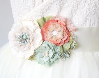Wedding Dress Sash, Floral Bridal Belt, Mint Sash, Coral Sash, Peach Sash, Beach Wedding Accessory, Bridal Sash with Fabric Flowers