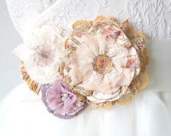 Floral Wedding Sash, Country Barn Wedding, Bridal Belt, Pink, Peach, Lavender, Fabric Flower Sash, Wedding Dress Flower Pin, Colorful Sash