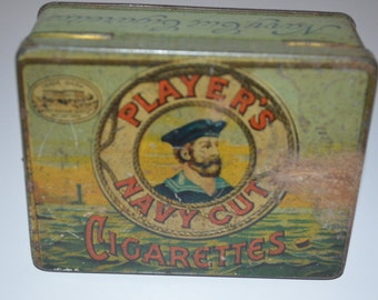 Players Navy Cut Cigarette tin - vintage storage - metal box - tobacciana