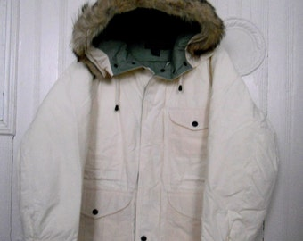 Vintage Nautica Men's White Down Feathers Parka Coat with Coyote Fur Trimmed Hood Size L