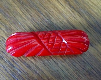 Vintage Cherry Red Carved Bakelite Brooch Pin FREE SHIPPING!!
