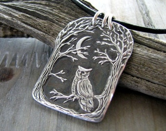 Night Owl, Fine Silver Pendant with Leather Necklace, Recycled Silver, Original and Exclusive, by SilverWishes