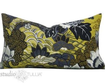 Shanghai Peacock Pillow Cover - Lumbar - 12 x 22 - decorative pillow cover - Schumacher pillow - chinoiserie - ready to ship