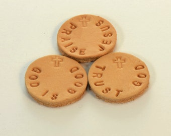 Choice Of One Hand Stamped Personalized Religious  Leather Pads for 30mm 316L Stainless Steel Aromatherapy Lockets