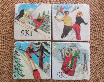 """Marble Stone Coaster Set - """"Humorous Vintage Skiers"""" - Ski Decor - Ski Coaster - Rustic Decor - Ski - Coaster - Vintage Ski - Natural Stone"""