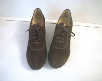 1940s Brown Suede Swing Shoes Lace Up Oxford Size 7 AA Narrow Foot Savers