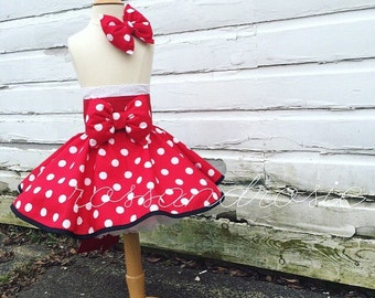 Minnie Mouse inspired Dress Up Costume Apron, Half Apron Style, Red Polka Dot Gown....Made to Order
