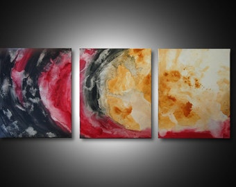3 Piece Wall Art - abstract canvas art, large canvas art, office art, 3 panel canvas art, ORIGINAL painting, fluid painting acrylic wall art