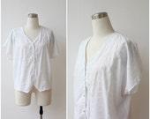 Free Shipping. Eyelet Lace White Blouse Button Front Dolman Cap Sleeve Top L XL