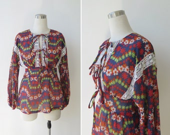 1970's Vintage Boho Floral Blouse by ATA, Gauzy Hippie Top S M