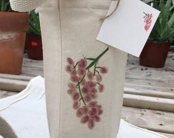 Red Grapes, Red Wine Bag,Wine Bottle Bag, Bag With Gift Card, Vineyard Gift, Event Favor, Vineyard Favor, Wedding favor, Wine Gift