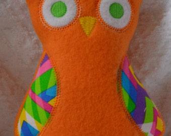 Handmade Stuffed Orange Fleece Owl