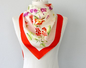 Silk scarf Botanical print neck scarf Floral silk shawl Luxury gift for her Nature inspired Pure silk scarves Summer accessories Red