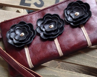 Ready to Ship Black Cherry Burgundy Leather Wristlet Clutch Small Purse Iphone Galaxy Cell Phone Brown Poppy Flowers with Key Fob