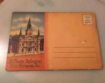 Fold-Out Souvenir Postcard of St  Louis Cathedral in Jackson Square, New Orleans,1940's