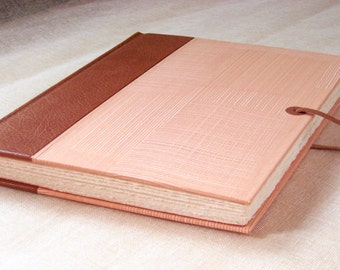 Leather Journal Sketchbook with Tan Spine and Handmade Pastepaper