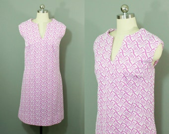 Vintage hot pink and white textured mini dress