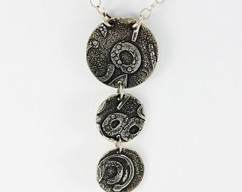"Handcrafted Jewelry Sterling Triple Disk Pendant ""Collage"" Series Raindrops Fused Silver Texture Patina Artisan OOAK Jewelry 005049196915"