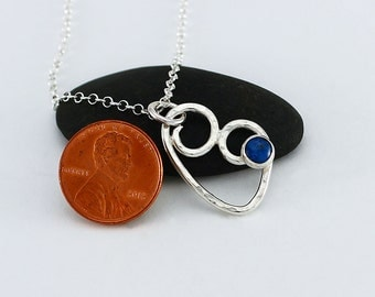 Handcrafted Sterling Wire Heart Pendant Lapis Cabochon Blue Natural Stone Stylized Heart Contemporary Artisan Jewelry Design 028860998916