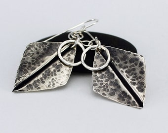 Handcrafted Sterling Silver Dangle Earrings Fold Formed Hammered One of a Kind Contemporary Artisan Design Jewelry 043761028416