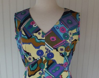 Sale Valentines 1970s Empire Waist Dress, polyester, Print, with Jacket, Size Medium, Large,  #40813