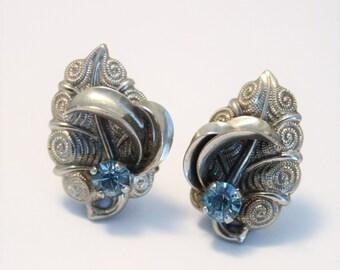 Vintage blue crystal earrings.  Clip on earrings. Leaf earrings