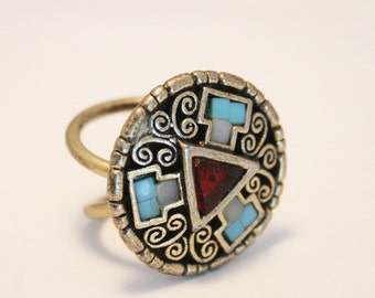 Vintage scarf ring.  Red and turquoise scarf ring. Celtic style scarf ring