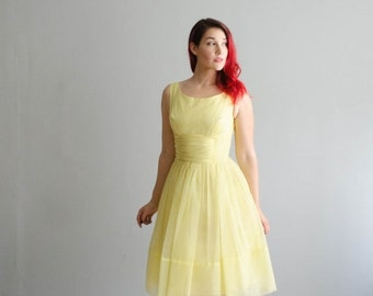 35% OFF - Vintage 1960s Party Dress - 60s Chiffon Dress - Lemon Meringue Dress