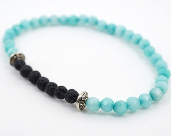 Boho Jewelry Gift Aqua Gemstone Bracelet Gift for girlfriend Gift idea for women Gift for her Black Lava Stone Sterling Thin Stacking