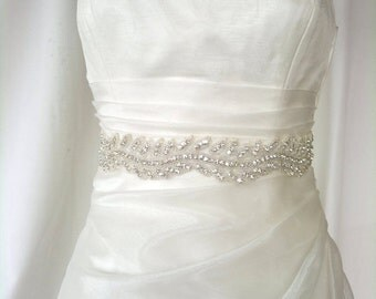 SALE, Elegant Rhinestone Ivy Beaded Wedding Dress Sash Belt