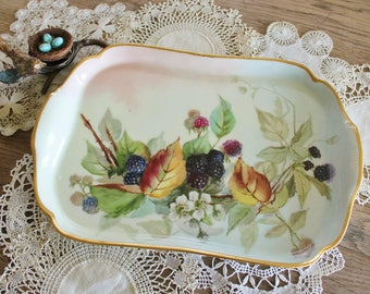 Antique French Haviland Hand Painted Porcelain Platter with Blackberries and Blossoms