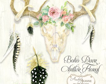 Watercolor Boho Floral, Deer Antlers, Deer Skull, Digital Clip Art Clipart, Bohemian Printable, Rose Wild Flowers, Watercolor Feathers