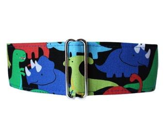 Martingale Dog Collar, Dinosaur Martingale Collar, 2 Inch Martingale Collar, Dinosaur Dog Collar, Whippet Collar, Dog Collar for Boys