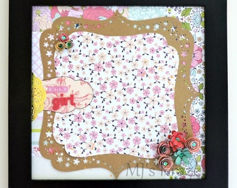 Custom Name Baby Girl Floral - Pink - Gold - Shadowbox Framed Scrapbook Page Wall Art