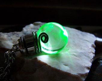 Earth Elemental Green LED Light Up Quartz Crystal Ball Pendant