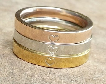 Heart Ring, Rose Silver Gold Ring, Hand Stamped, Stainless Steel Ring, Gift For Her, Stack Ring, Daughter Gift, Wife Gift, Mother Gift