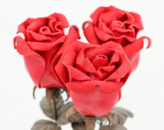Leather Rose bright red third Anniversary wedding gift Long Stem leather flower Valentine's Day 3rd Leather Anniversary Mother's Day