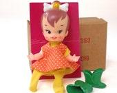 Vintage Flintstones Pebbles Finger Ding Doll by Remco