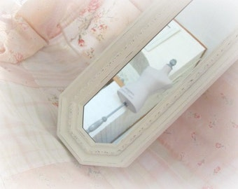 Vintage Wall Mirror, Cream Shabby Chic Vintage Homco Oblong Mirror