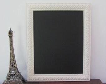Ornate Framed Chalkboard, Antique White Chalkboard, Cream Wedding, Nursery Chalkboard